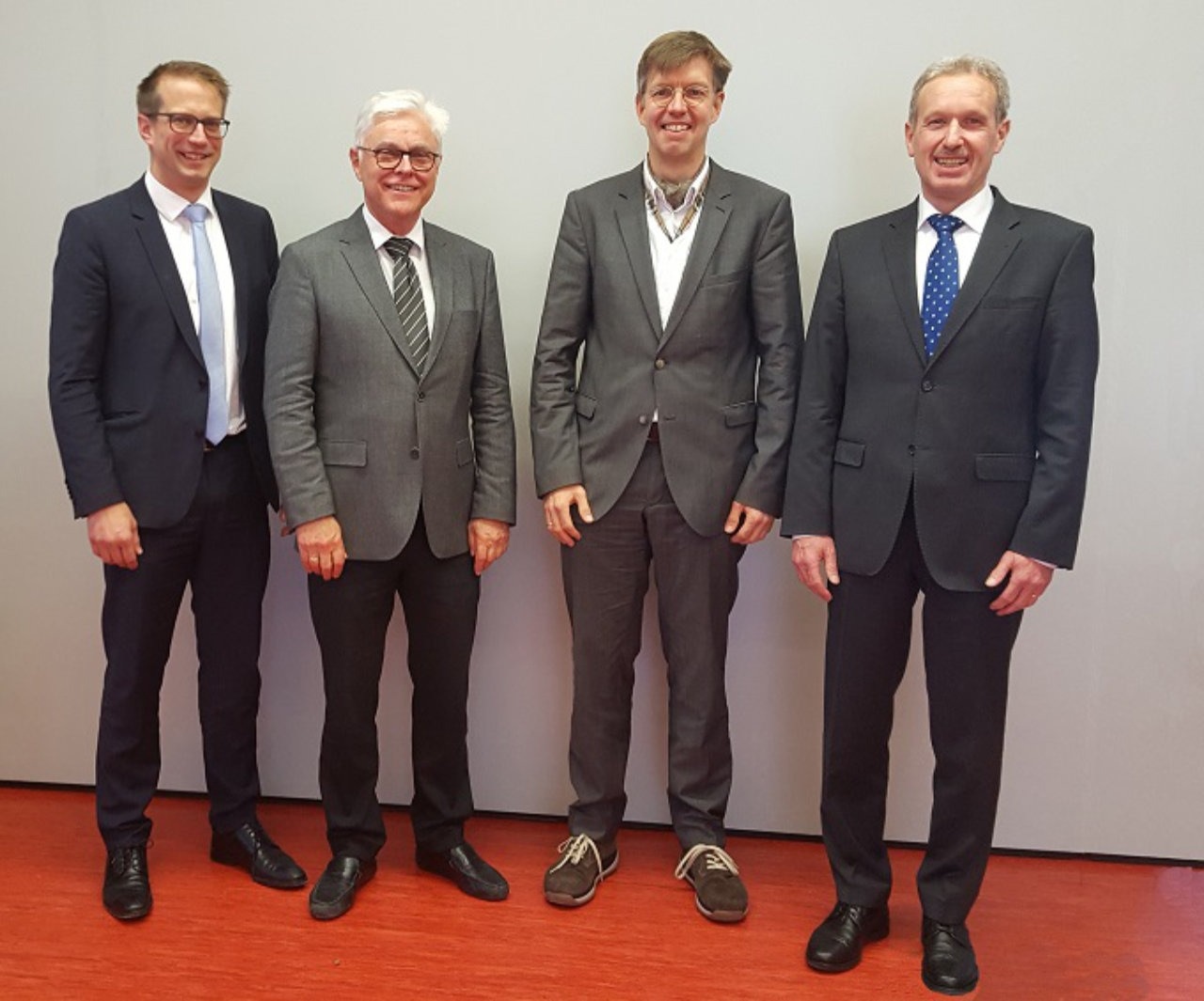 The management board of Technologie-Initiative SmartFactory KL e.V. (from left to right): Dr. Thomas Bürger, Prof. Dr. Detlef Zühlke (Chairman), Andreas Huhmann, Klaus Stark. Photo: SmartFactoryKL