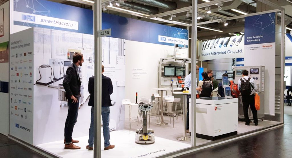 This year´s fair stand of SmartFactory-KL for the SPS IPC Drives 2017.