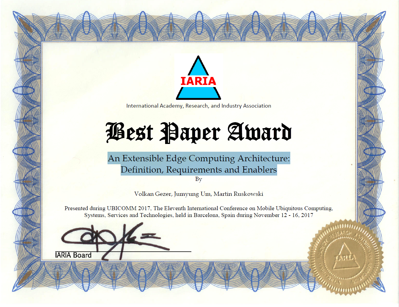 Best Paper Award received