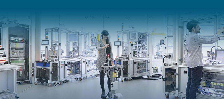 Die Industrie 4.0-Anlage in ihrem Aufbau zur Hannover Messe 2018. Bild: A. Sell