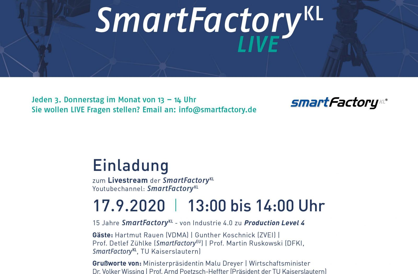 SmartFactory-KL LIVE startet am 17.9.2020 ab 13 Uhr auf YouTube [VIDEO]